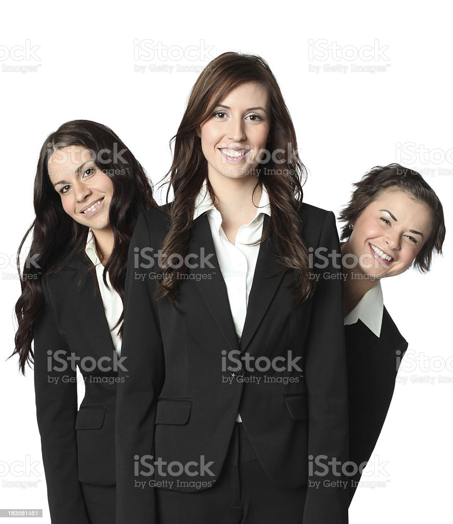 Happy businesswomen staggered royalty-free stock photo