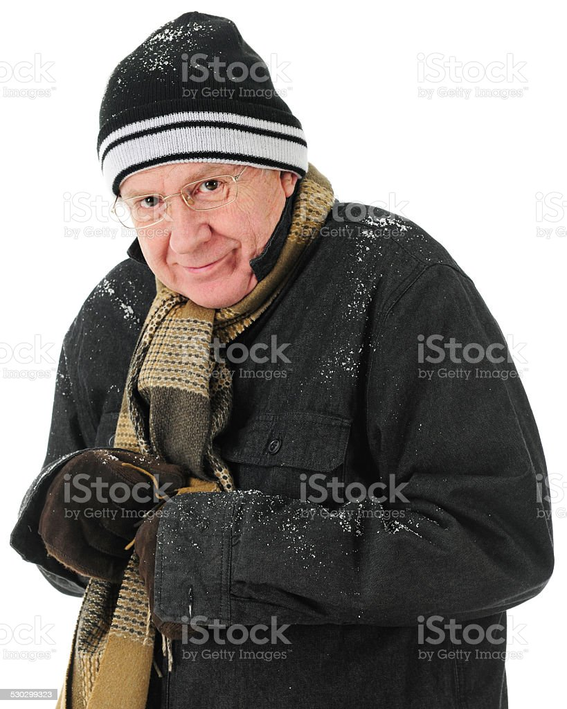 Happy but Freezing stock photo