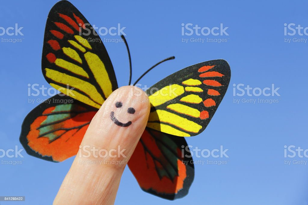 Happy butterfly. stock photo