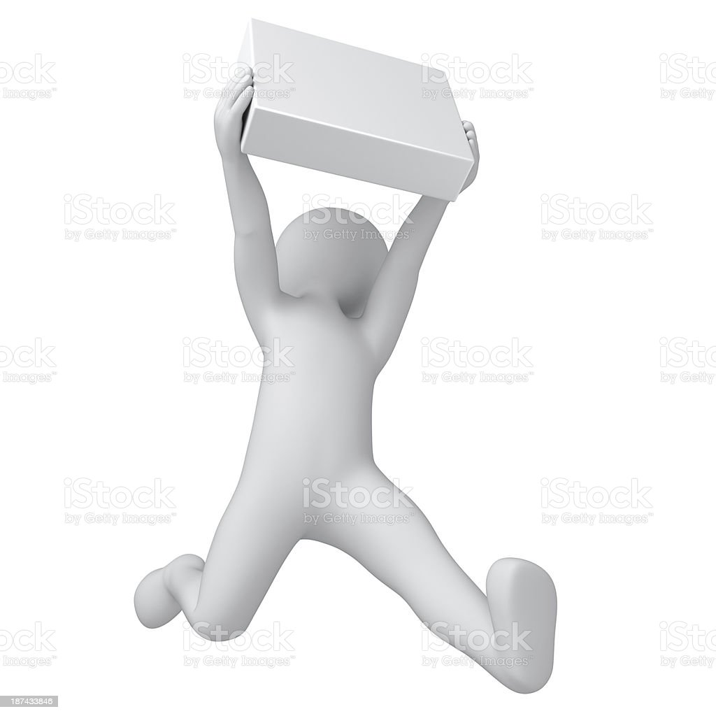 happy buyer with a white box stock photo