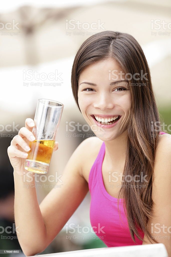 Happy cafe woman drinking drink royalty-free stock photo