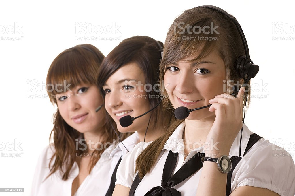 Happy call center employees with headset royalty-free stock photo