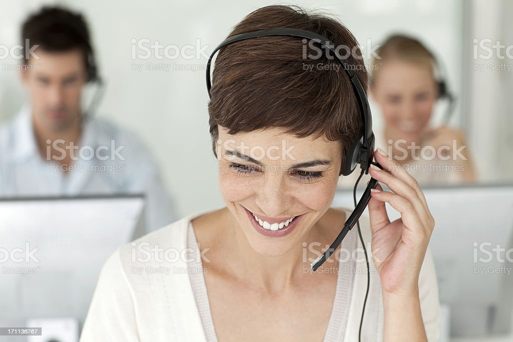 Happy Call Center Worker. royalty-free stock photo