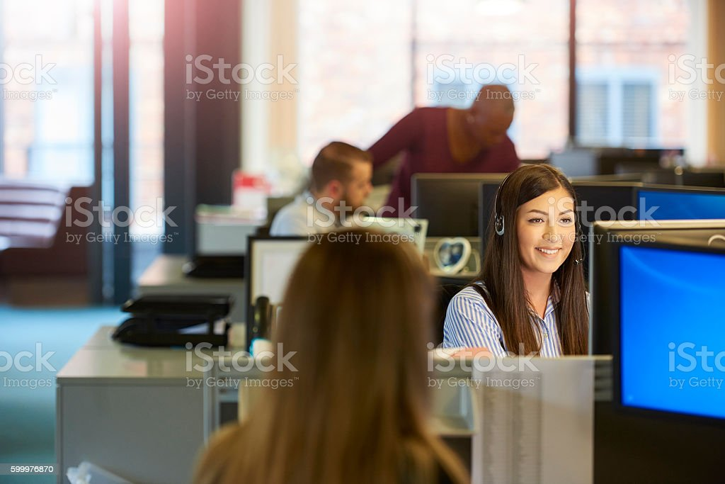 happy call centre stock photo