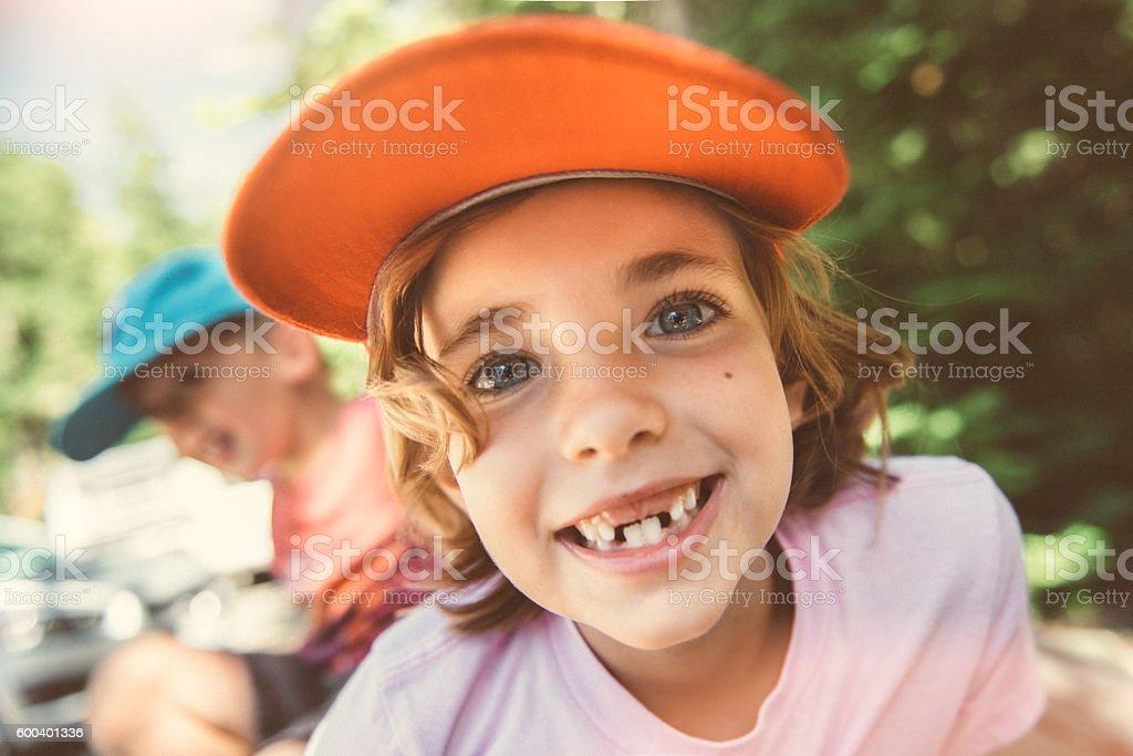 Happy Camper stock photo