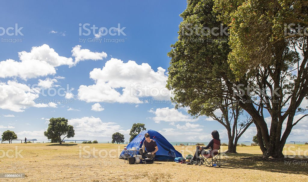 Happy campers stock photo