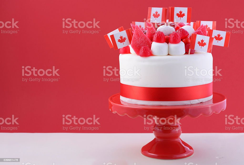 Happy Canada Day celebration cake stock photo