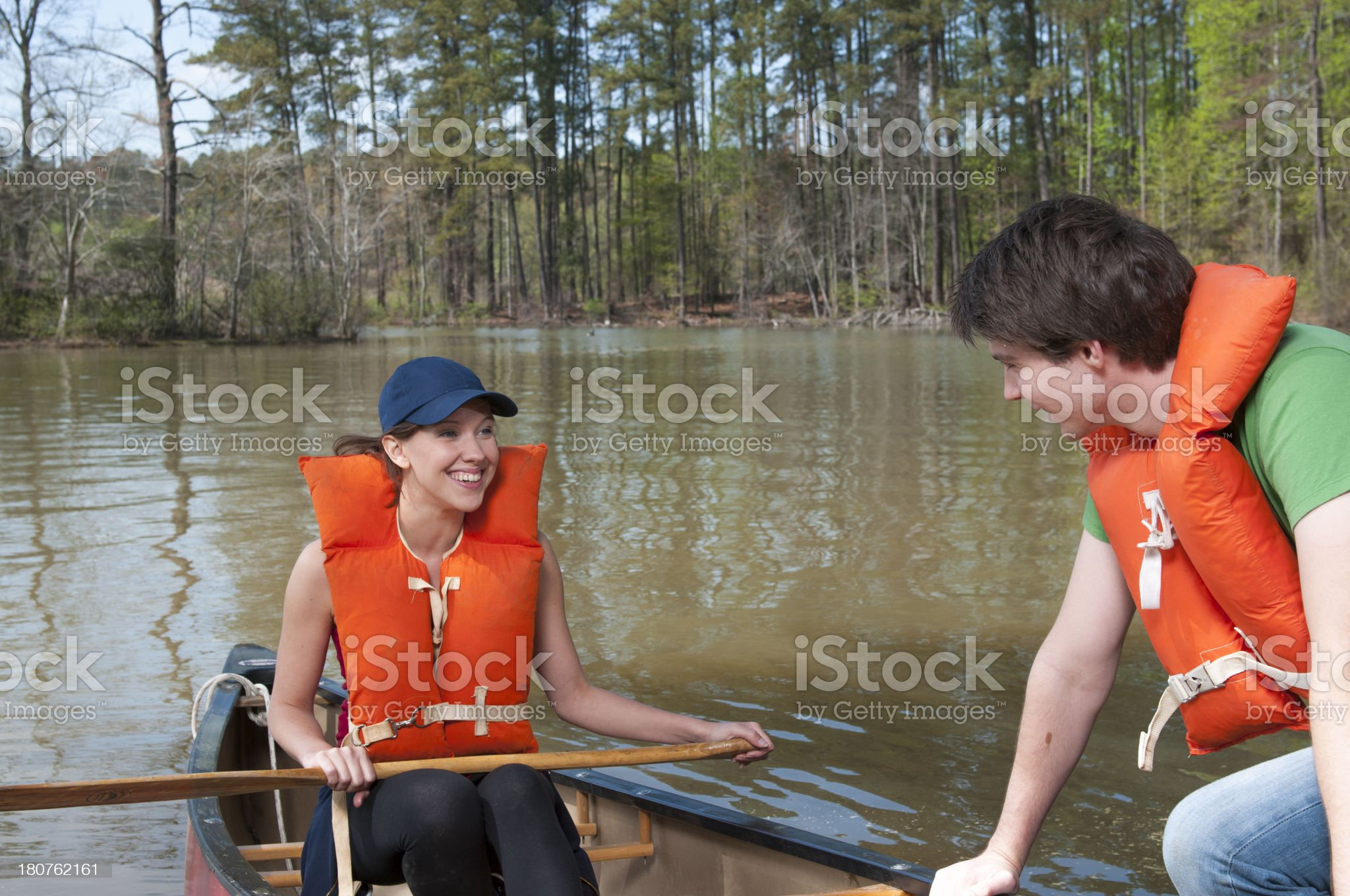 Happy Canoe Couple royalty-free stock photo