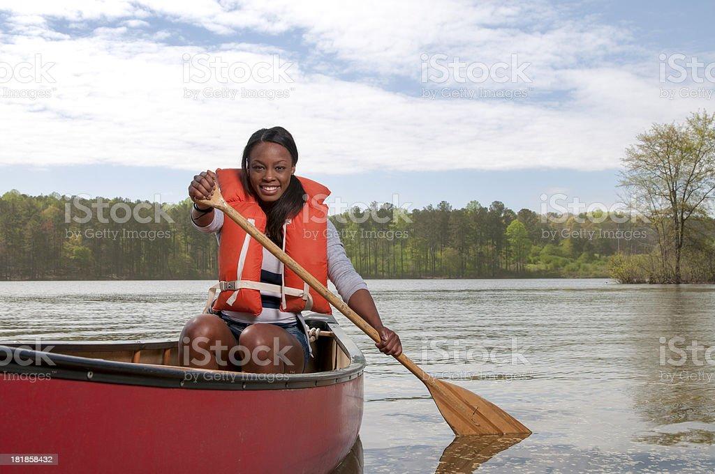 Happy Canoe Girl royalty-free stock photo