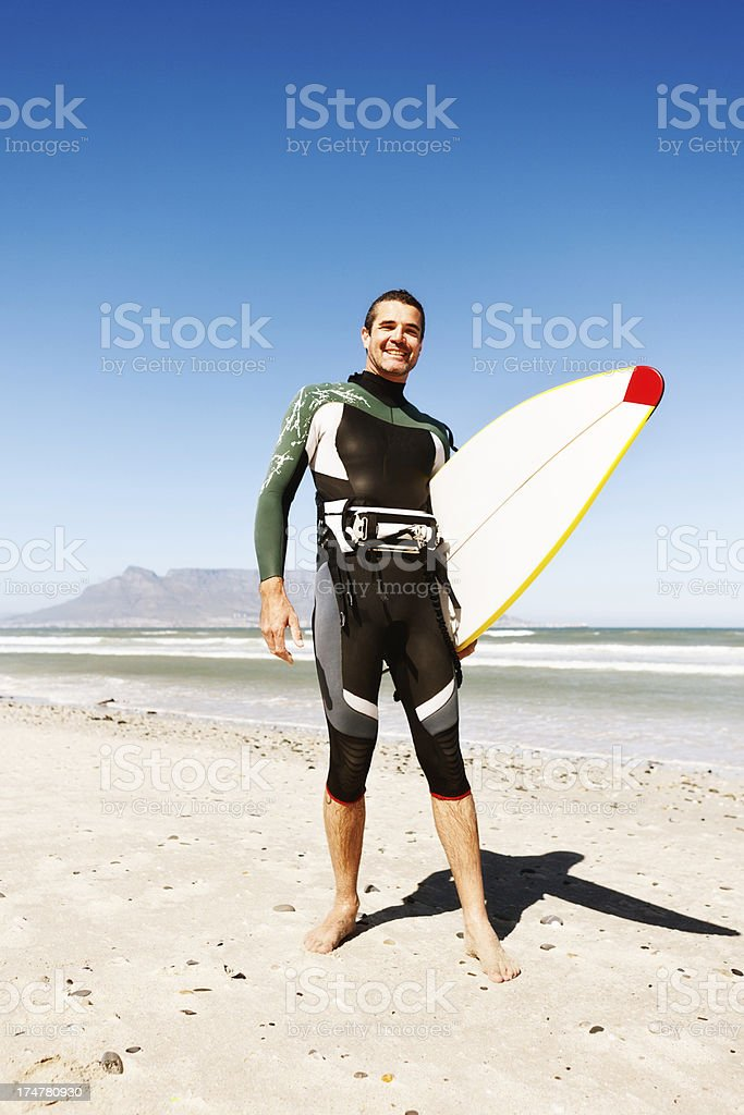 Happy Cape Town kiteboarder with Table Mountain in background royalty-free stock photo