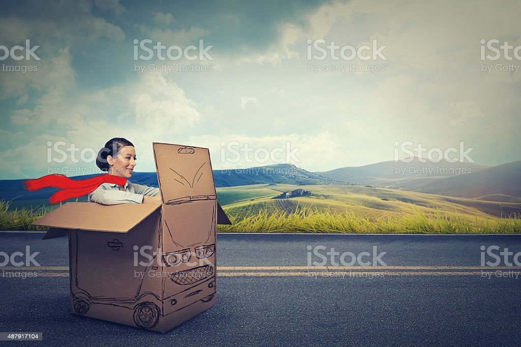 Happy car driver on a countryside road . stock photo