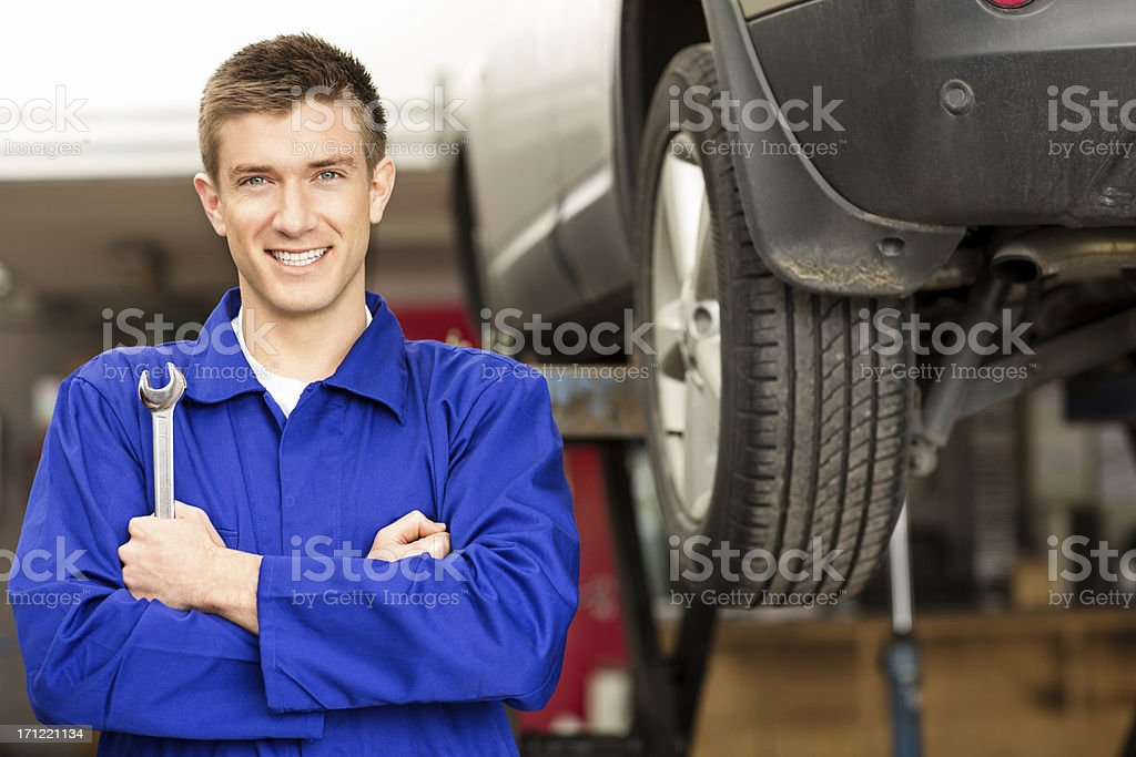 Happy Car Mechanic Holding Wrench royalty-free stock photo