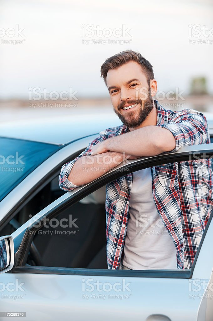 Happy car owner. stock photo