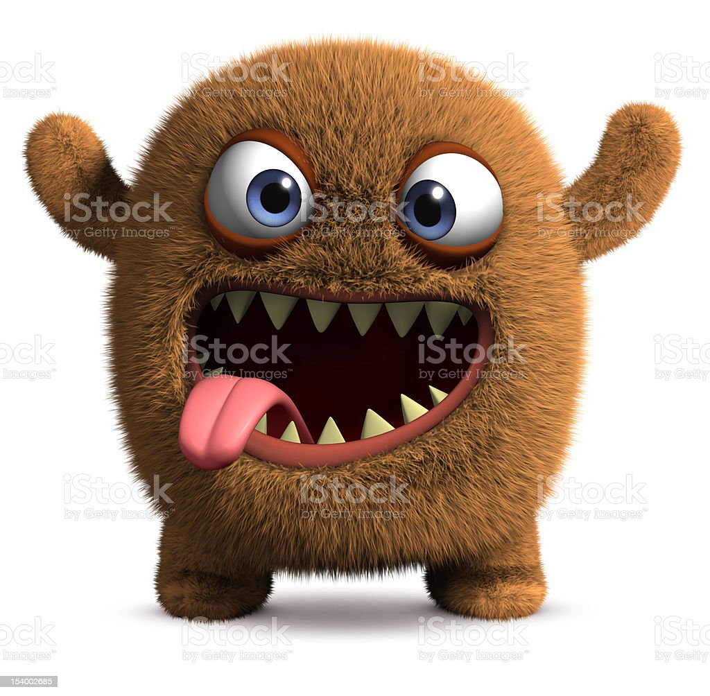 happy cartoon monster vector art illustration