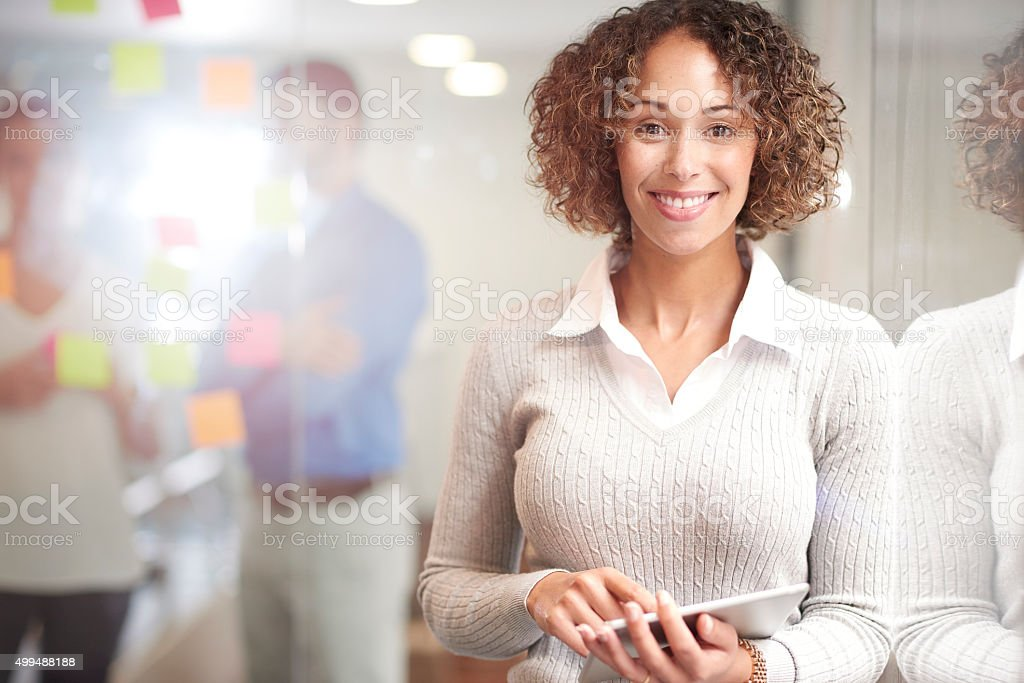 happy casual business woman stock photo