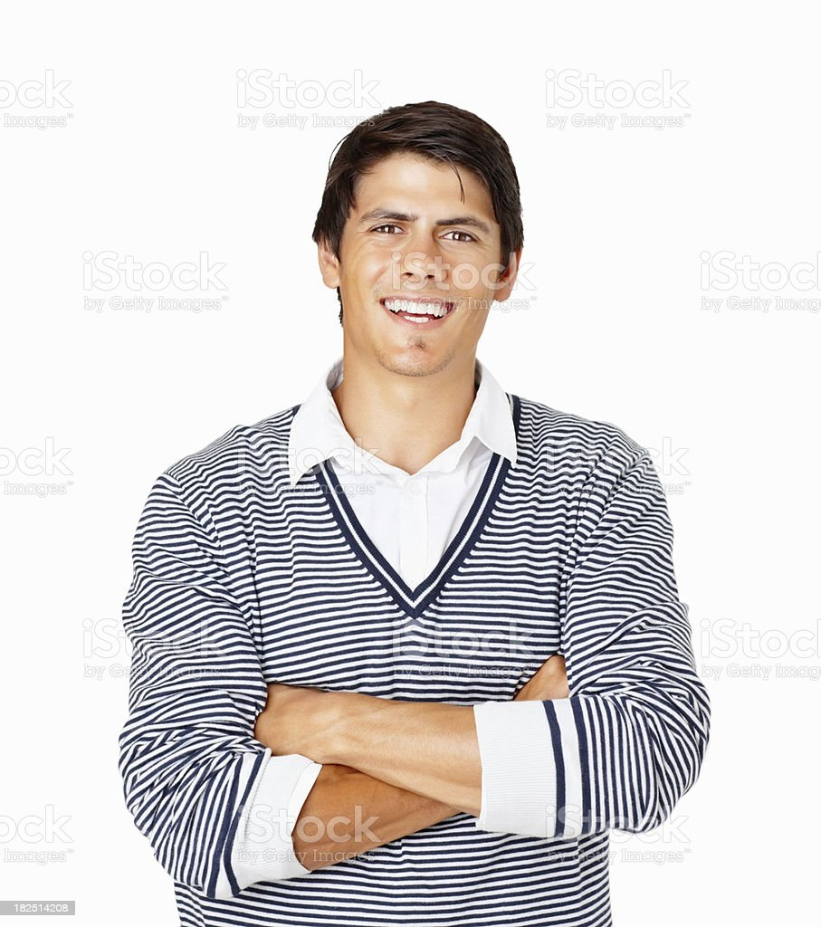 Happy casual guy with hands folded on white royalty-free stock photo