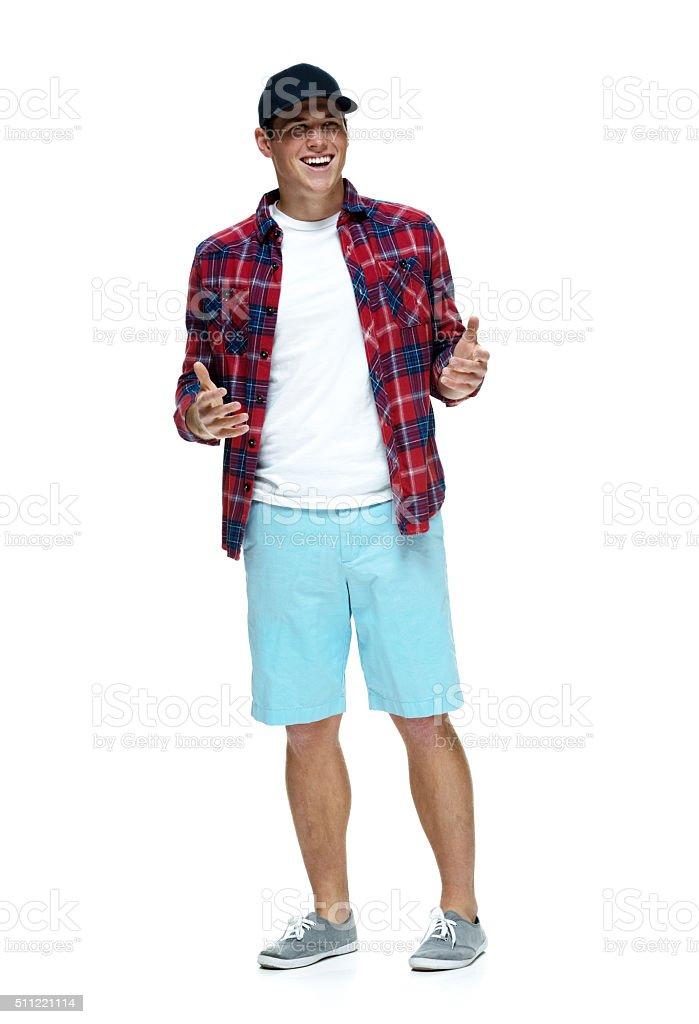 Happy casual man stock photo