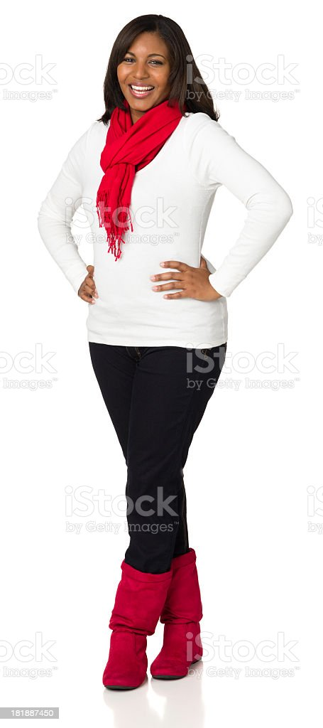 Happy Casual Young Woman Standing Full-Length Portrait royalty-free stock photo