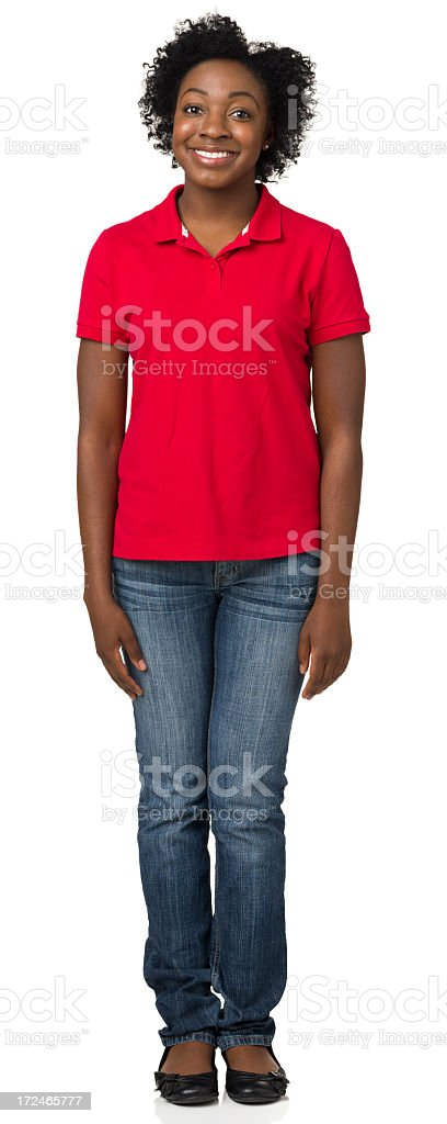 Happy Casual Young Woman Standing royalty-free stock photo