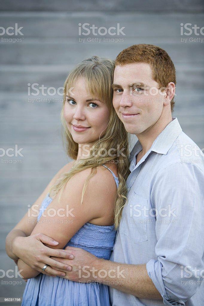Happy Caucasian Couple Embracing royalty-free stock photo