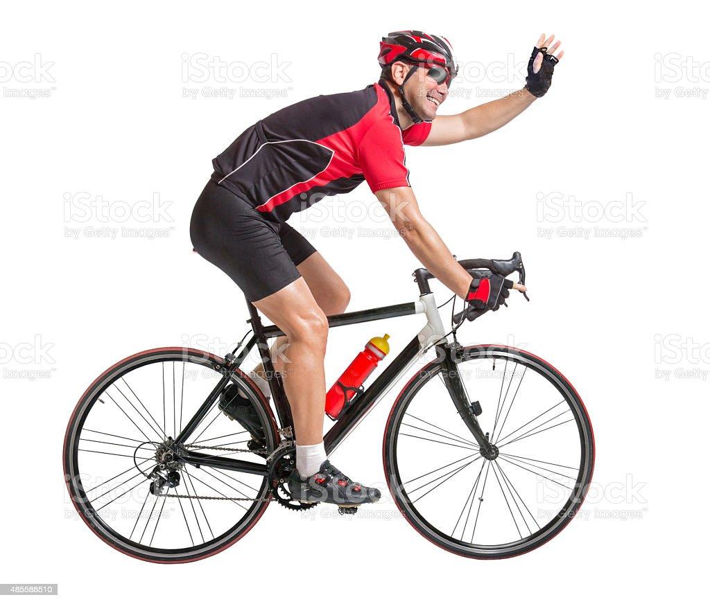 happy cheerful cyclist waving hands stock photo