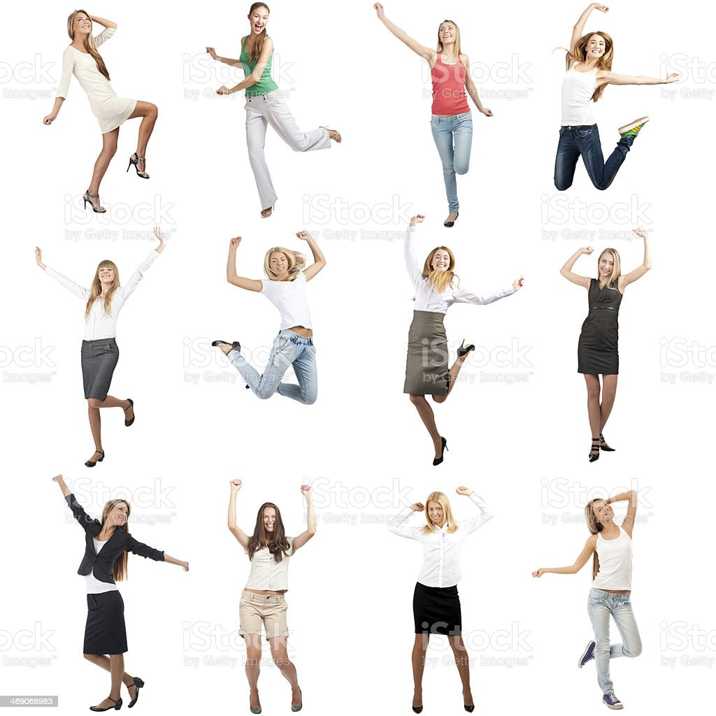 Happy cheerful women in motion stock photo