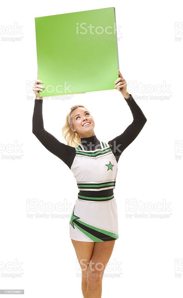 happy cheerleader holding up blank message board royalty-free stock photo