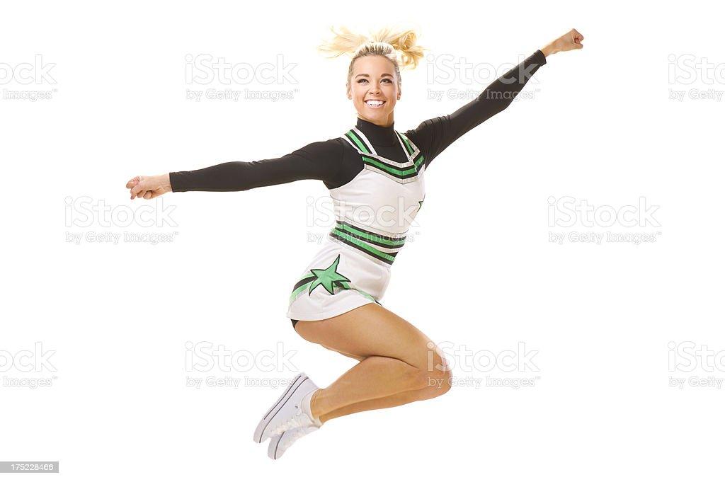 happy cheerleader jumping up royalty-free stock photo