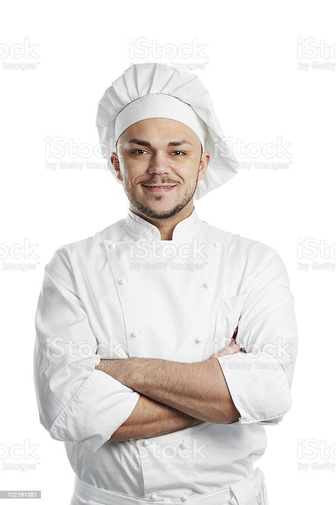 happy chef in white uniform isolated stock photo