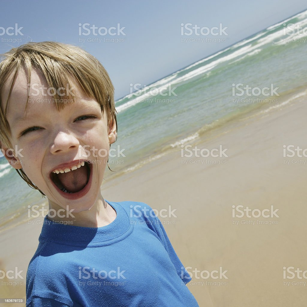 Happy Child at the Beach stock photo