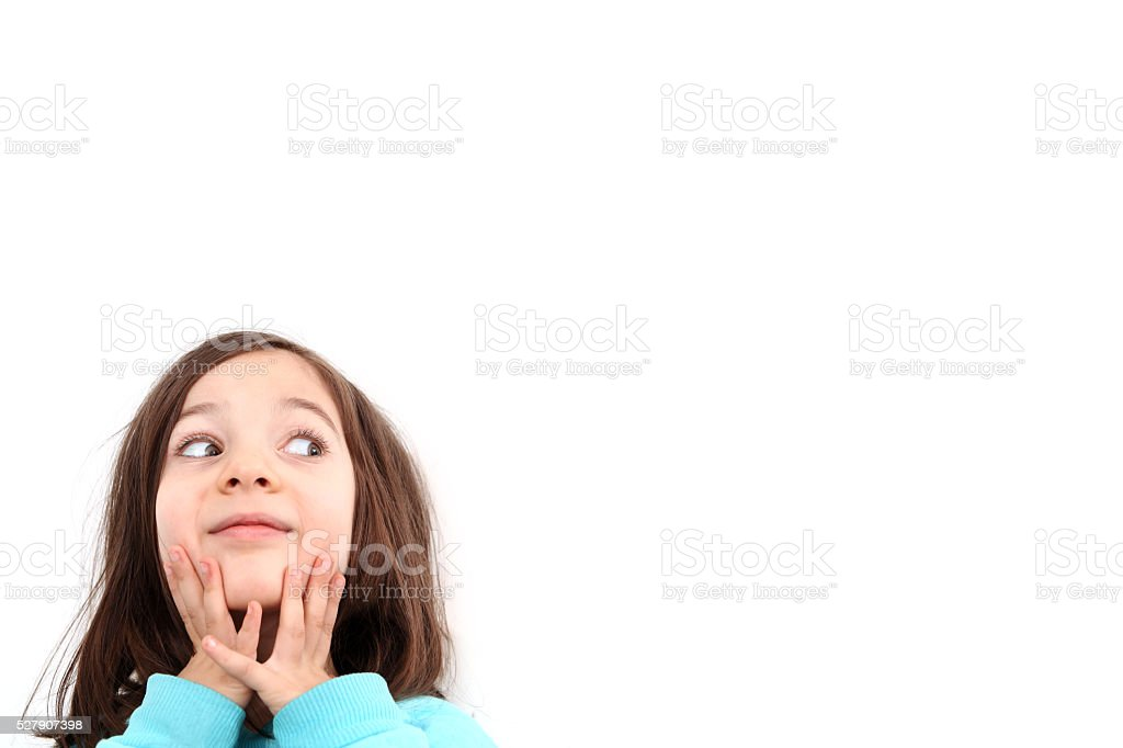 Happy child girl and blank white poster billboard stock photo