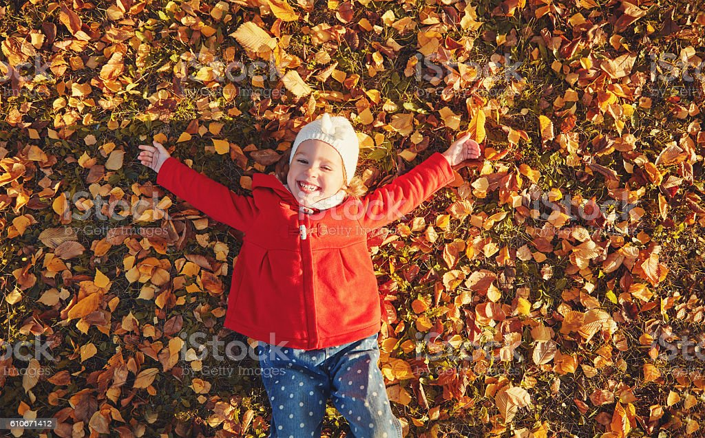 happy child girl laughing and playing  leaves in autumn stock photo