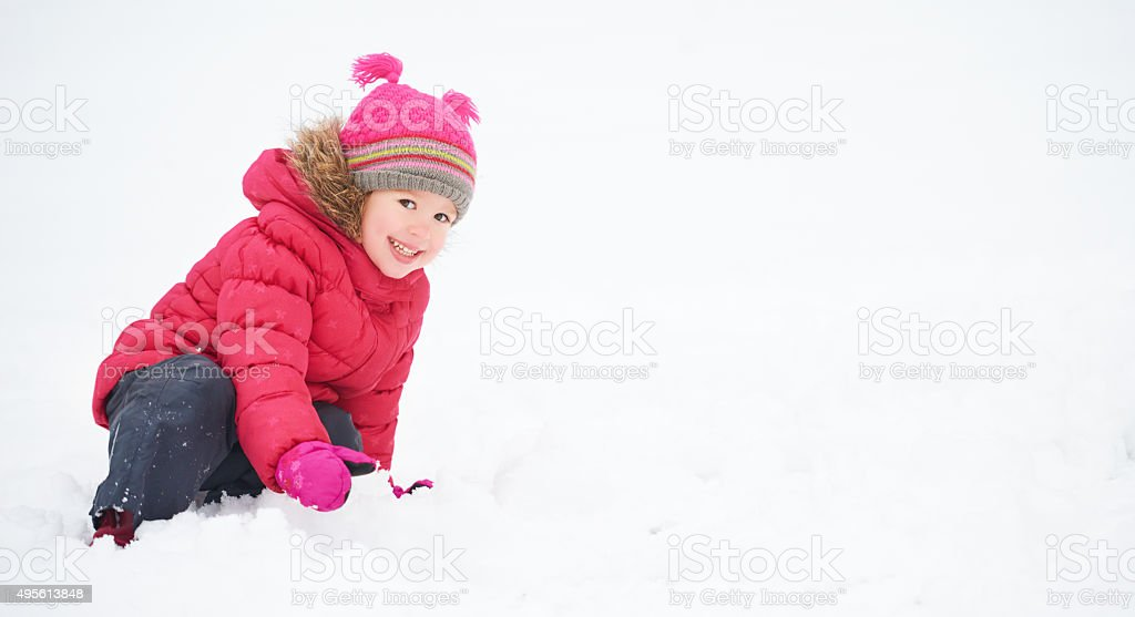 Happy child girl on a winter walk. stock photo