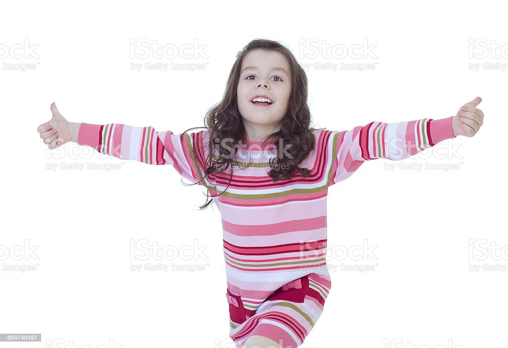 Fille enfant heureux avec mains Pouce levé photo libre de droits