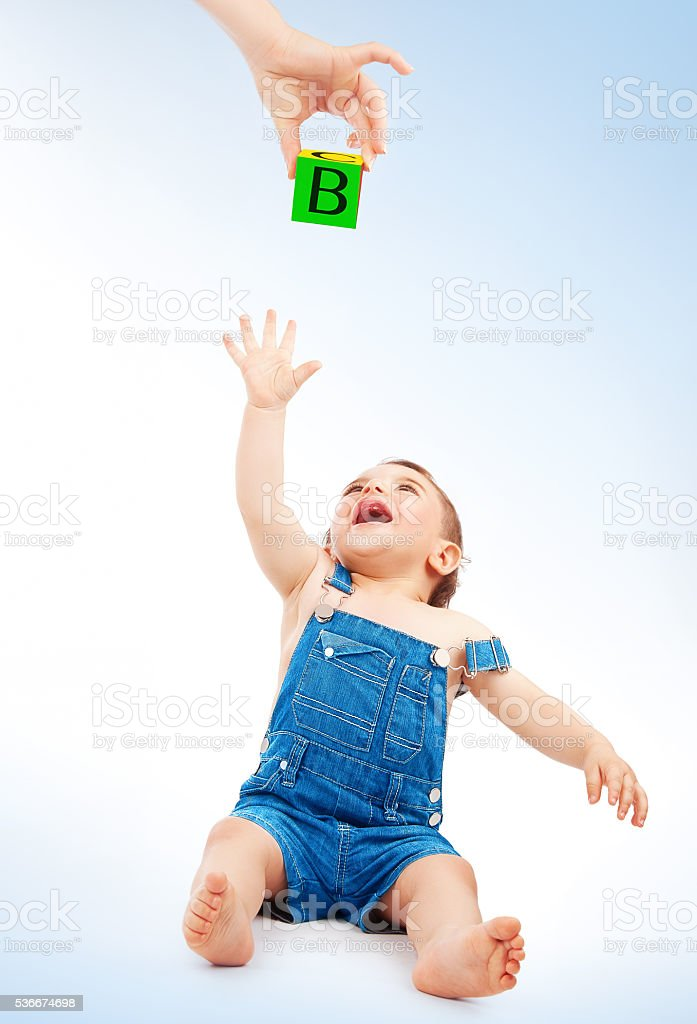 Happy child having fun stock photo