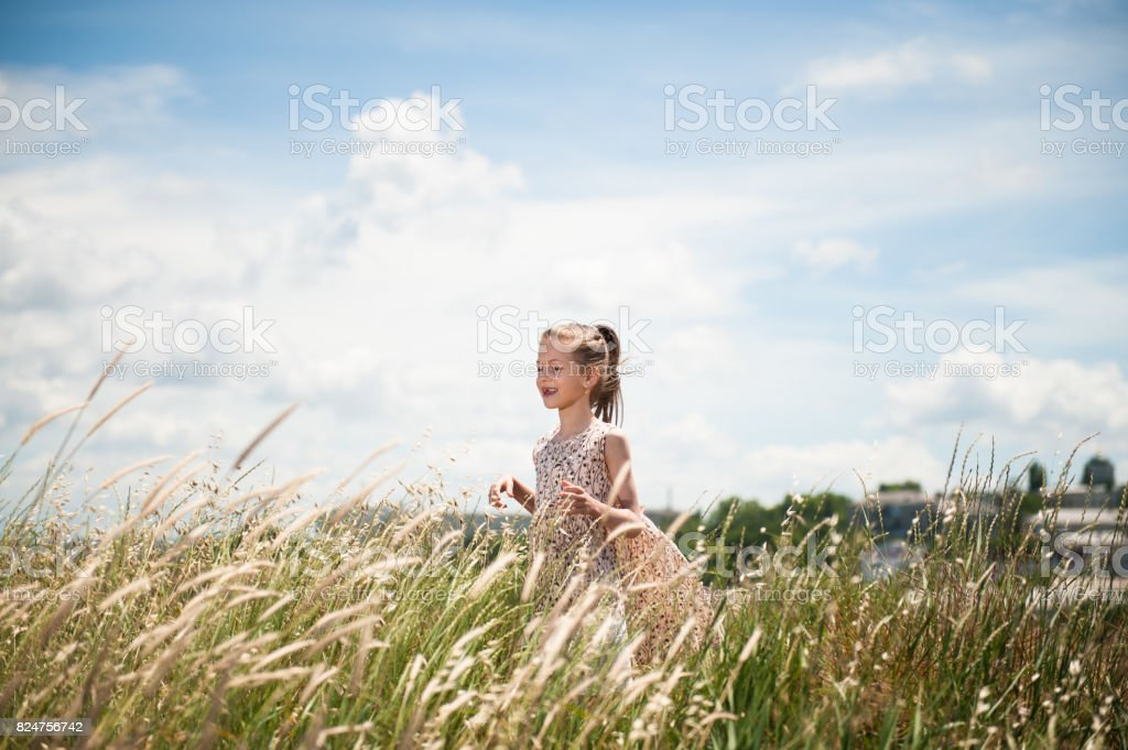 Happy child in a dress in the middle of a field of spikelets stock photo