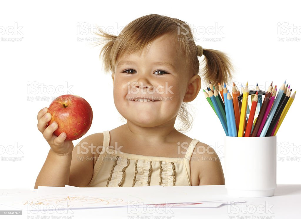 Happy child in preschool royalty-free stock photo
