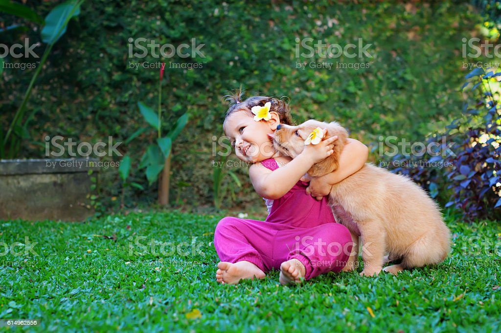 Happy child play with family pet - labrador puppy stock photo