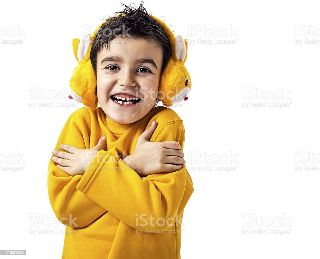 Happy child shivering royalty-free stock photo
