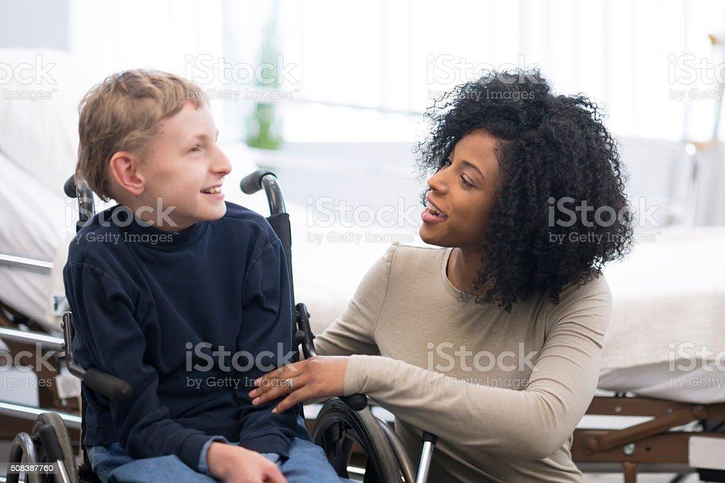 Happy Child with Cerebral Palsy stock photo