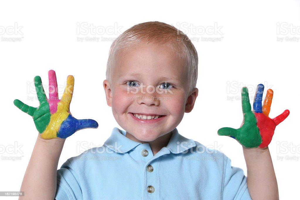Happy child with painted hands and imagination royalty-free stock photo