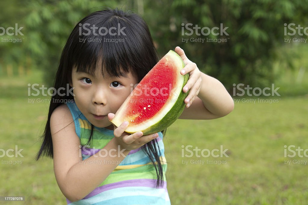 Happy child with watermelon royalty-free stock photo