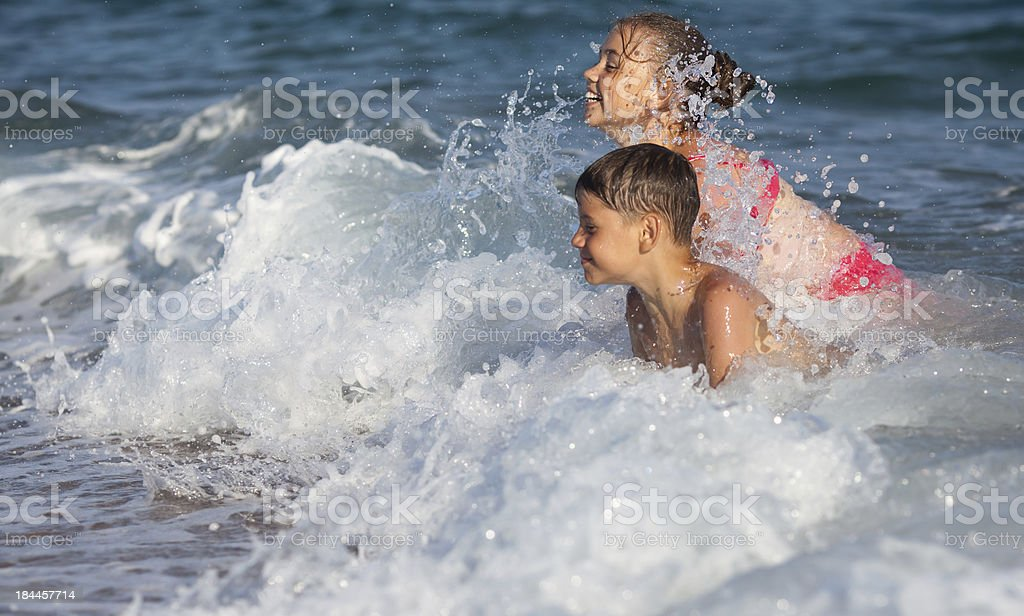 Happy children and sea royalty-free stock photo