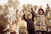 Happy children enjoying in the park.