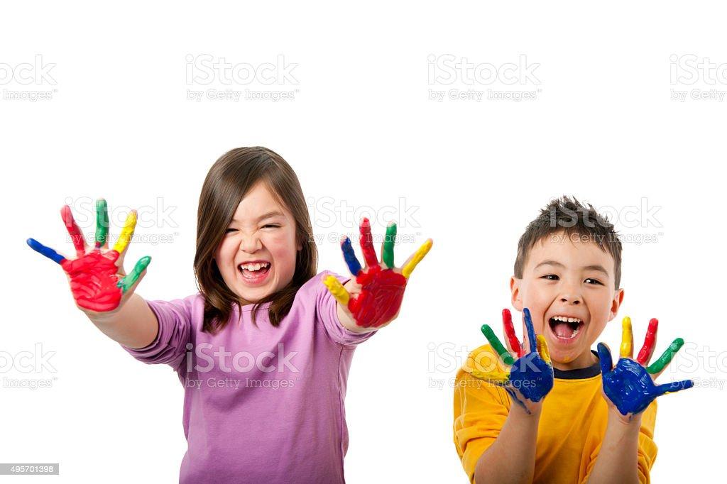 Happy Children Finger Painting stock photo