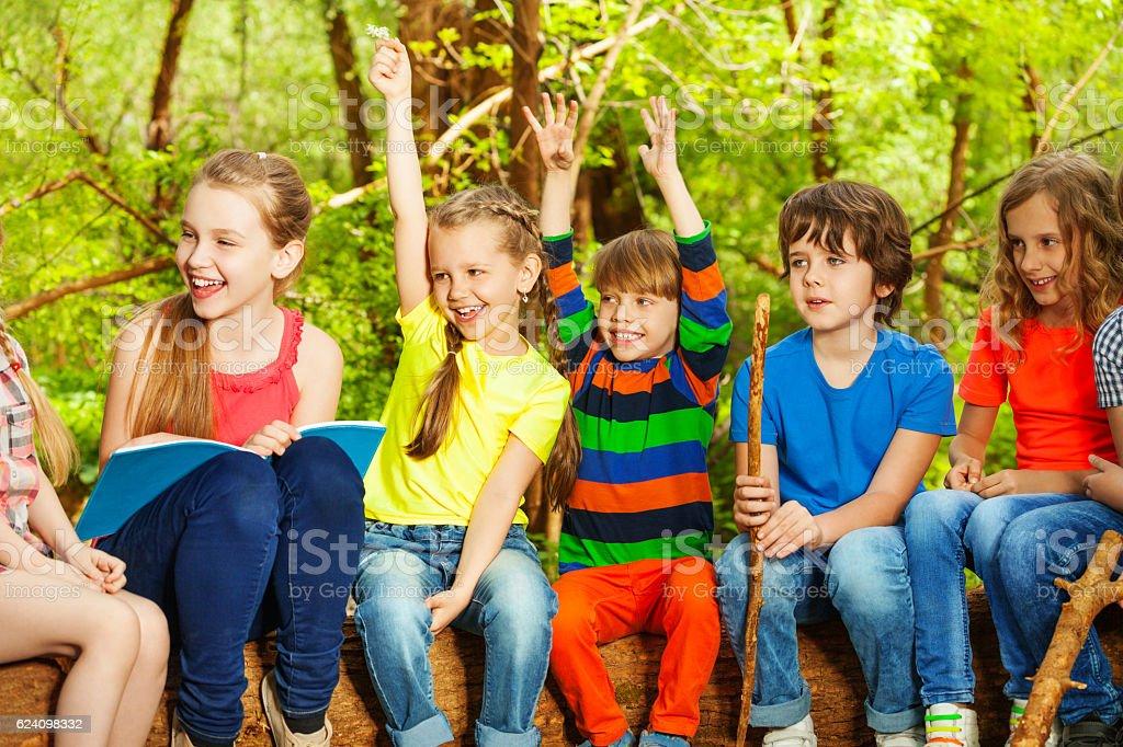 Happy children having fun in the summer camp stock photo