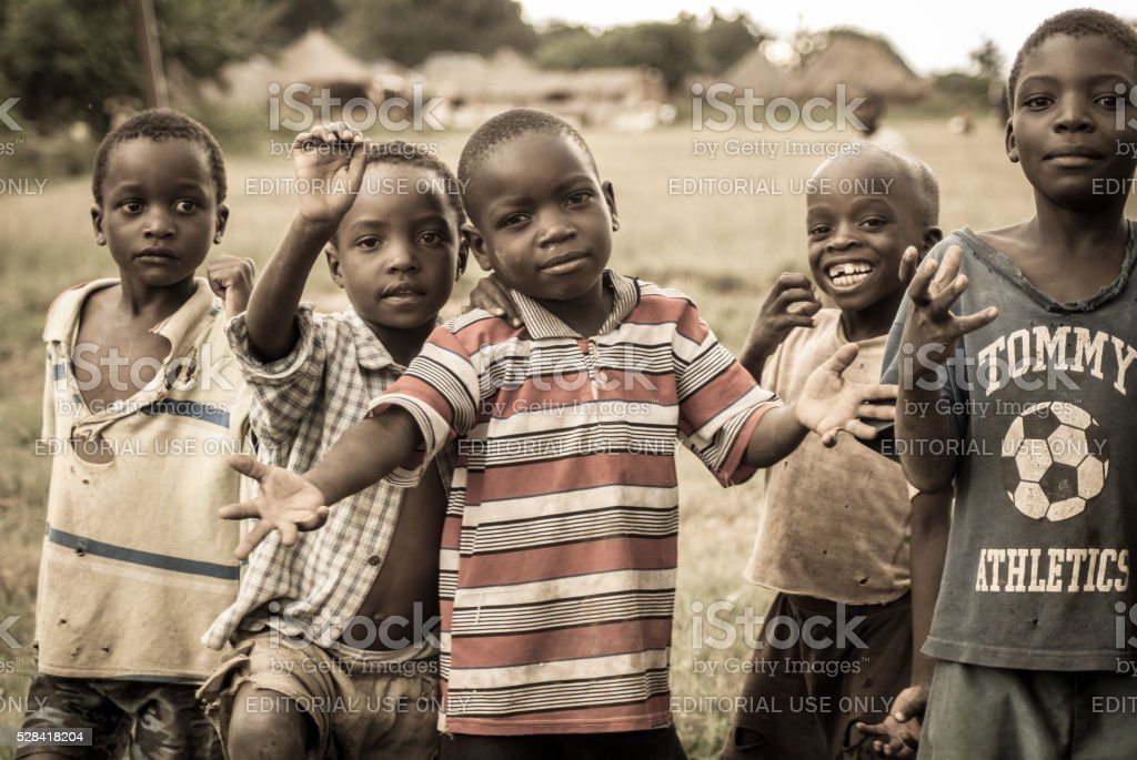 Happy Children in a Village stock photo