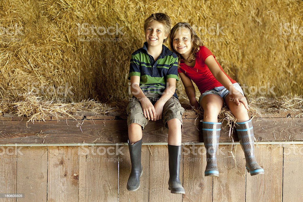happy children in gumboots royalty-free stock photo