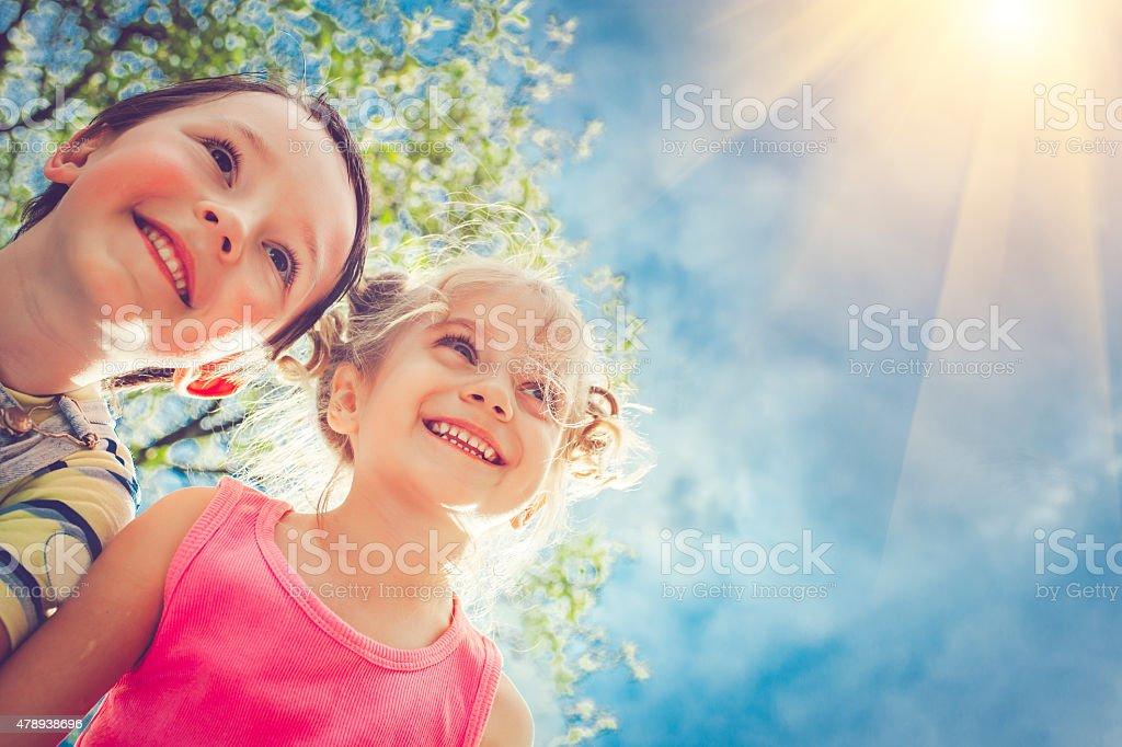 Happy children in summer stock photo