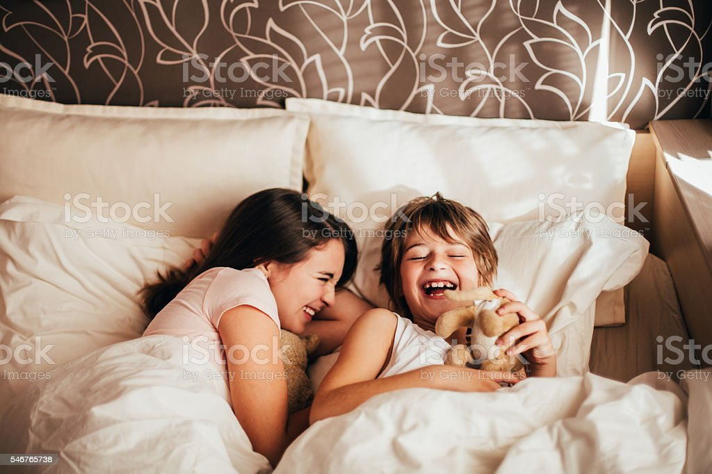 Happy children in the morning stock photo